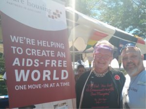 Jim poses with resident Greg at the US Bank booth at Pride.