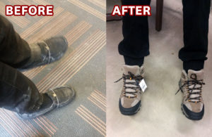 When Denis moved in last year, a staff member noticed his shoes were held together by rubberbands. Thanks to donors like you, we were able to get him new boots!