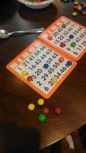 Someone uses M&M's for snacking, and also creatively as bingo markers at Clare-Midtown.